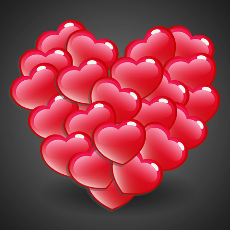 Red Glossy Heart Emblem on Dark Background