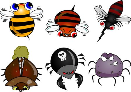 Set include 6 different bugs: bees, mosquito, beetles spider