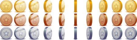 Set of animated spinning coins for game Illustration