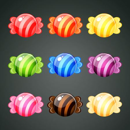 9 colourful wrapped candies with stripes ornament Illustration