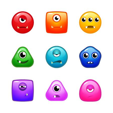smirk: Set of various colourful monsters for match three or other puzzle game Illustration