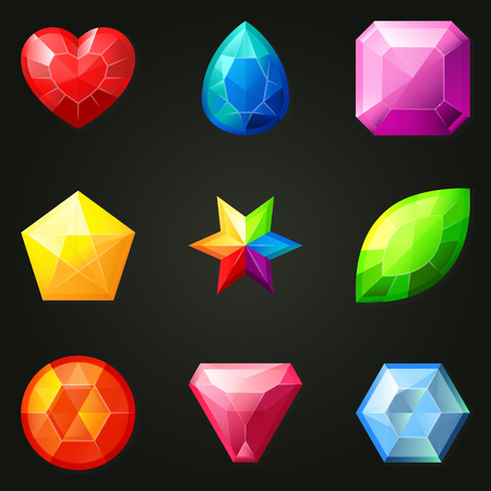 facet: Set of gemstones with different shapes. Set of jewels with different facet