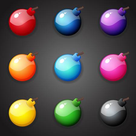 Set of colorful Bombs For Match Three Game Illustration