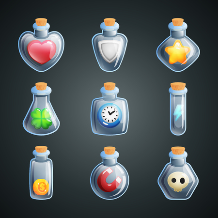 Magic potions for game. Power ups and bonuses in bottles for game