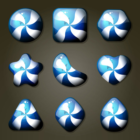 sweet segments: Set of blueberry candies for match tree game or other puzzle game