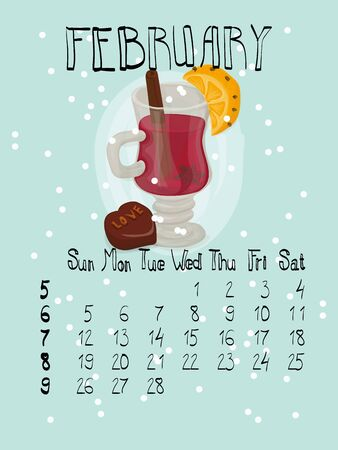 february calendar: Vector set of winter February calendar posters and Valentine greeting cards in hand drawn style