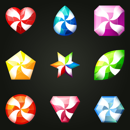 Set of gemstones with different shapes. Set of jewels with different facet form. Game match three items wit power-up. Bonus gems. Illustration
