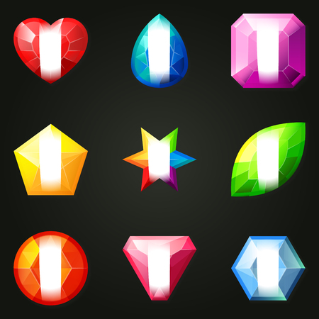 onyx: Set of gemstones with different shapes. Set of jewels with different facet form. Game match three items wit power-up. Bonus gems