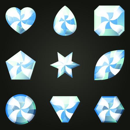 wit: Set of gemstones with different shapes. Set of jewels with different facet form. Game match three items wit power-up. Bonus gems