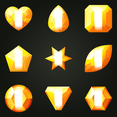 radiant: Set of gemstones with different shapes. Set of jewels with different facet form. Game match three items wit power-up. Bonus gems