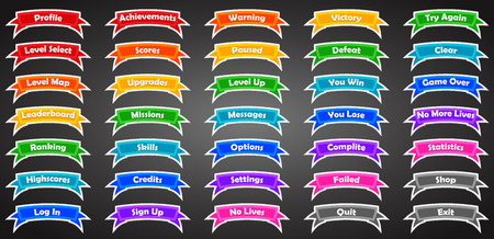 Set of text game banners in flat style vector illustration. Stock Illustratie