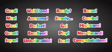 Set of game text lettering in cartoon flat style vector illustration. Stock fotó - 84436056