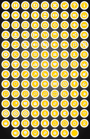 pause button: Set of flat round game buttons in cartoon style vector illustration.