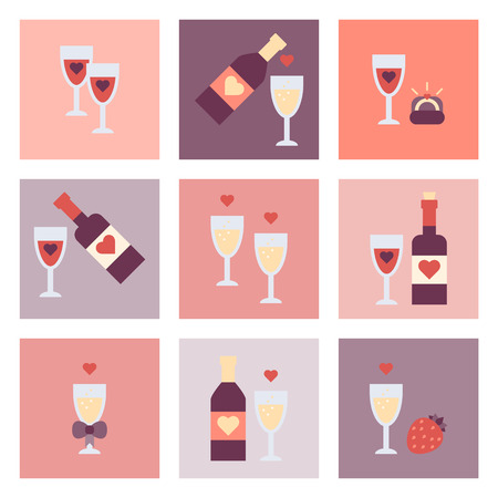 Valentine Day Flat Icon Set on plain background