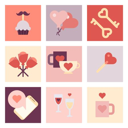 Valentine's day flat icon set. Illustration