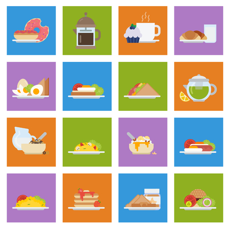 Set of breakfast icons in flat style