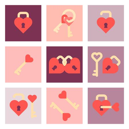 Valentine day flat icon set Illustration