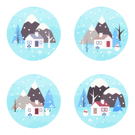 Winter landscape background. Round icons. Snowy scene with trees and mountaines. Flat vector illustration. Forest cottage or traditional farmhouse on countryside area by wintertime.