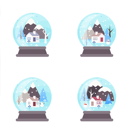 Winter landscape background. Snowglobe concept. Snowy scene with trees and mountaines. Flat vector illustration. Forest cottage or traditional farmhouse on countryside area by wintertime.