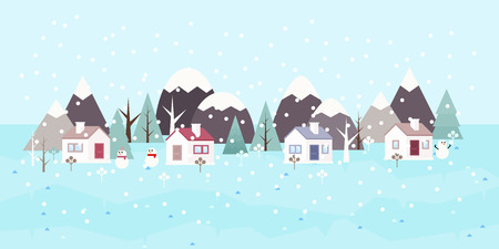 Winter landscape background. Snowy scene with trees and mountaines. Flat vector illustration. Forest cottage or traditional farmhouse on countryside area by wintertime.