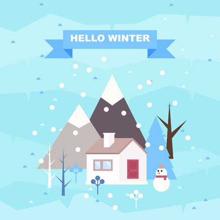 Hello winter. Winter landscape background. Snowy scene with trees and mountaines. Flat vector illustration. Forest cottage or traditional farmhouse on countryside area by wintertime.