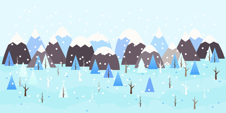 Winter landscape background. Snowy scene with trees and mountaines. Flat vector illustration. Forest, countryside area by wintertime.