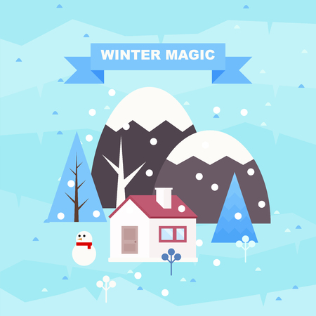 Winter magic. Winter landscape background. Snowy scene with trees and mountaines. Flat vector illustration. Forest cottage or traditional farmhouse on countryside area by wintertime.