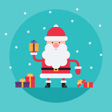 Cartoon Santa Claus in flat style holding colorful present box. Funny white-bearded, red-suited, and jolly old man. Vector flat style cartoon illustration isolated on light blue background