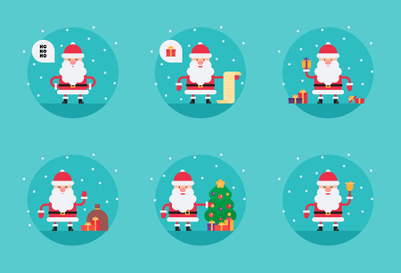 Cartoon Santa Claus in flat style. Funny white-bearded, red-suited, and jolly old man. Vector flat style cartoon illustration isolated on light blue background
