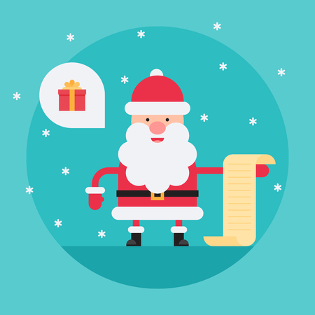 Cartoon Santa Claus in flat style holding present list. Funny white-bearded, red-suited, and jolly old man. Vector flat style cartoon illustration isolated on light blue background Illusztráció