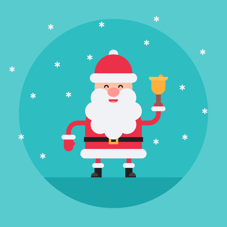 Cartoon Santa Claus ringing a bell in flat style. Funny white-bearded, red-suited, and jolly old man. Vector flat style cartoon illustration isolated on light blue background