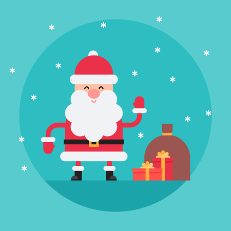 Cartoon Santa Claus in flat style waving hello with present boxes and bag. Funny white-bearded, red-suited, and jolly old man. Vector flat style cartoon illustration isolated on light blue background