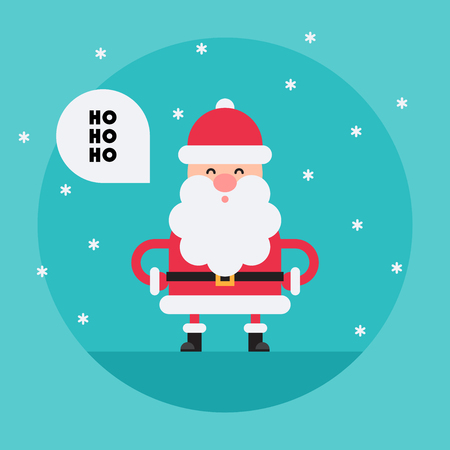 Laughing cartoon Santa Claus in flat style saying Ho-ho-ho Funny white-bearded, red-suited, and jolly old man. Vector flat style cartoon illustration isolated on light blue background