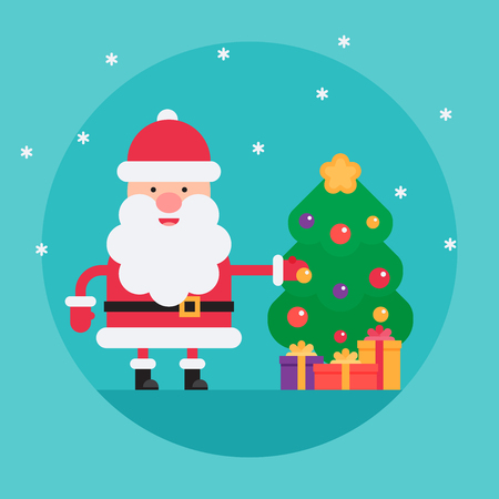 Cartoon Santa Claus decorating christmas tree with balls in flat style. Funny white-bearded, red-suited, and jolly old man. Vector flat style cartoon illustration isolated on light blue background Illusztráció