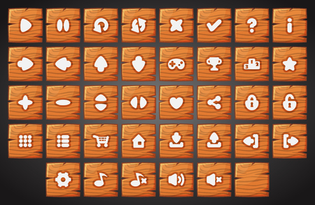 Big set of cartoon wood material vector buttons for the game user interface - computer mobile games and web design - Vector.