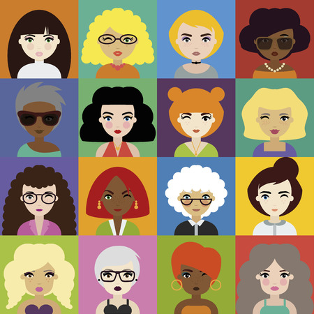 Set of Woman Avatar Icons in Flat Style. Fashionable Female Portraits for Social Network or Media. Illusztráció