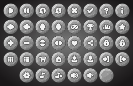 Big set of cartoon stone or rock material vector buttons for the game user interface - computer mobile games and web design - Vector.