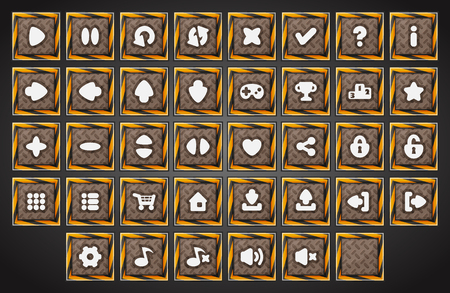 Big set of cartoon metal industrial material vector buttons for the game user interface - computer mobile games and web design - Vector.