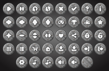 Big set of cartoon material gray metal industrial vector buttons for the game user interface - computer mobile games and web design - Vector.