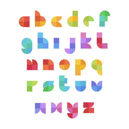 English alphabet colorful set in geometrical flat style and colors on a white bacground. Vector design template elements for application, typographyc poster, titles, business or company.
