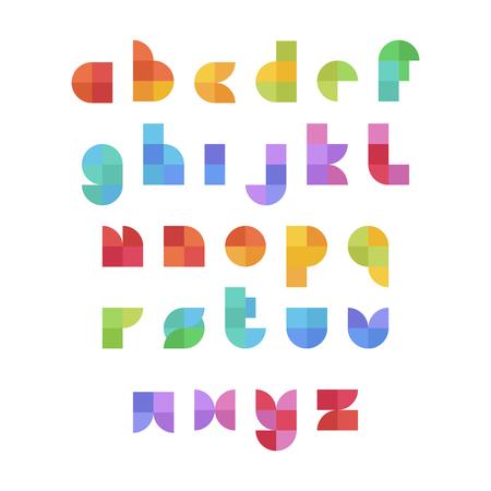 Insieme variopinto dell'alfabeto inglese in stile piatto geometrico e colori su un bacground bianco. Elementi del modello di disegno vettoriale per applicazione, poster tipografici, titoli, affari o società. Vettoriali