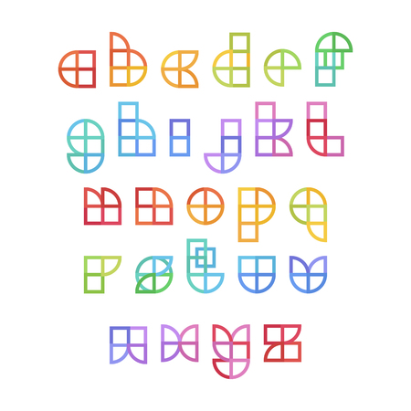 English alphabet colorful set in geometrical flat style and colors on a white bacground. Vector design template elements for application, typographyc poster, titles, business or company. Stock fotó - 121909914