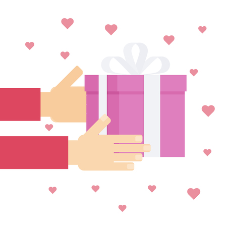 Giving presents for Valentine Day concept in flat style. One person giving gift to another. Love and affection demonstration