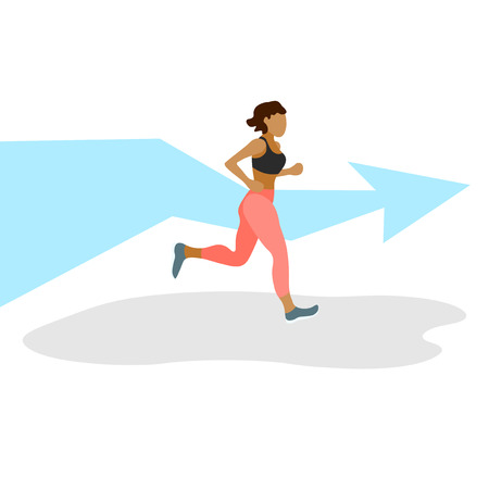 Runner in motion. Active lifestyle and fitness. Person running race and finishing, training to marathon, jogging and running illustration - Vector