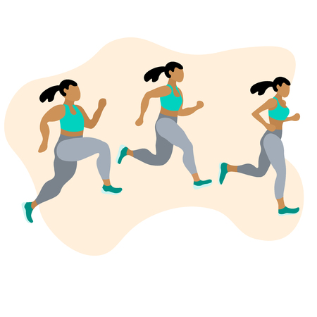 Running people. Body positive runners group in motion. Active lifestyle and fitness. People runner race, training to marathon, jogging and running illustration - Vector Illusztráció