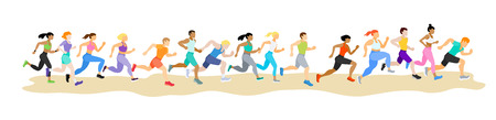 Running people. Runners group in motion. Active lifestyle and fitness. People runner race, training to marathon, jogging and running illustration - Vector Illusztráció