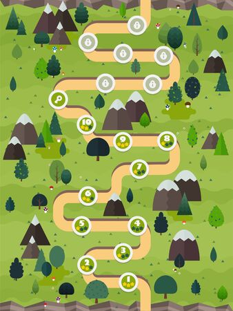 Menu of graphical user interface on screen of 2d mobile game application in flat cartoon style with forest theme Illusztráció