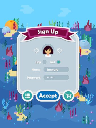 Menu of graphical user interface with underwater sea or ocean theme on screen of 2d mobile game application in flat cartoon style
