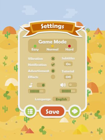 Menu of graphical user interface on screen of 2d mobile game application in flat cartoon style with hot desert theme