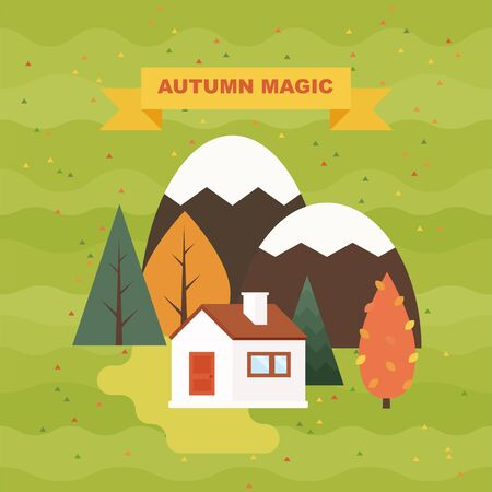 Autumn landscape vector illustration. Flat style orange, yellow, red trees and firs with village cottage houses. Illusztráció
